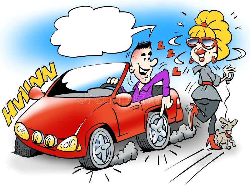 Kreskówki ilustracja smary facet w jego sporta samochodzie royalty ilustracja
