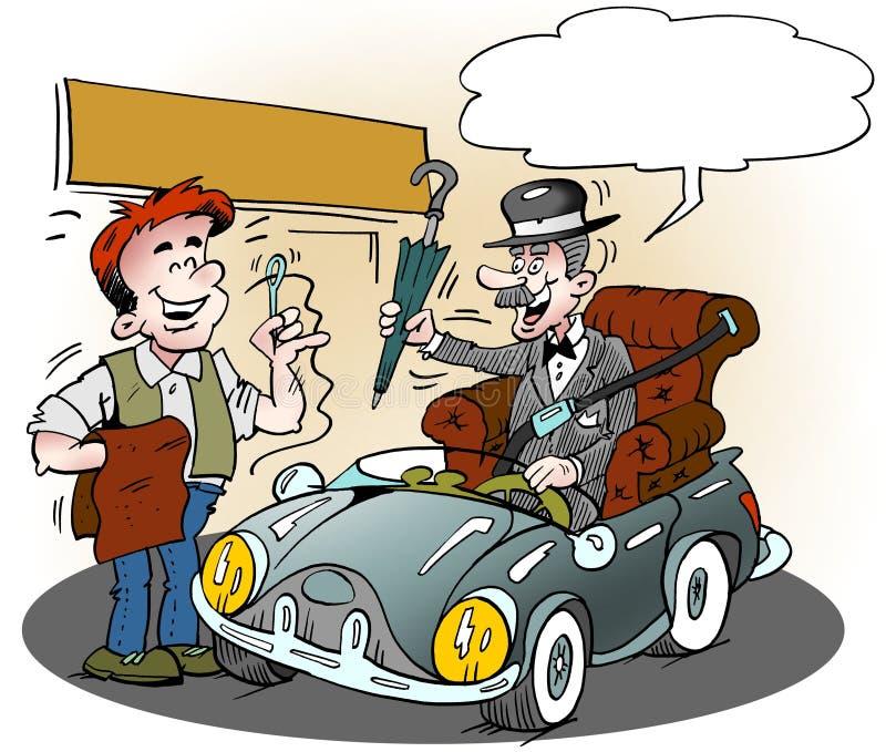 Kreskówki ilustracja starszy glenteman który dostawał jego ulubionego karło w jego nowym sporta samochodzie royalty ilustracja