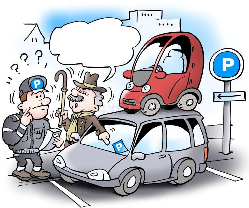 Kreskówki ilustracja stary skąpy mężczyzna który parkował jej małego samochód na dachu wielki duży samochód royalty ilustracja