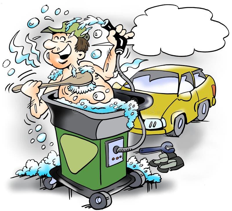Kreskówki ilustracja szczęśliwy mechanik który bierze skąpanie w czystej wody maszynie przy warsztatem ilustracji