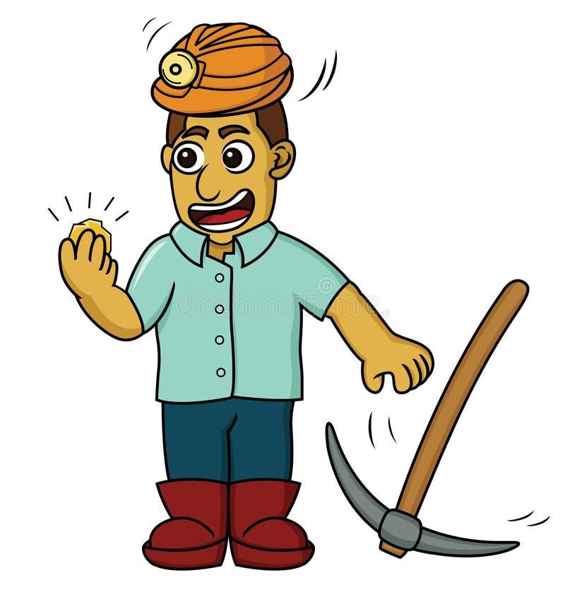 Kreskówki ilustracja szczęśliwy złocisty górnik znajduje niektóre złoto ilustracji