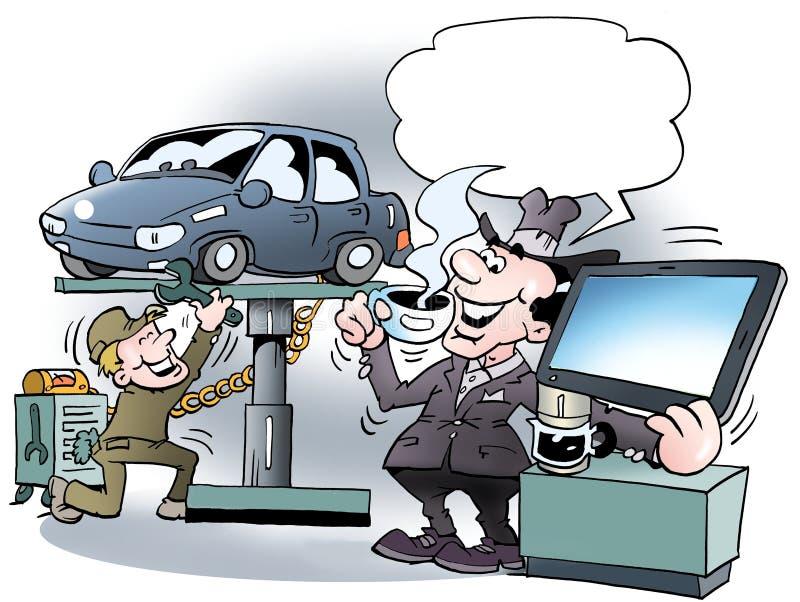 Kreskówki ilustracja właściciel samochodu tam pije kawę ilustracja wektor