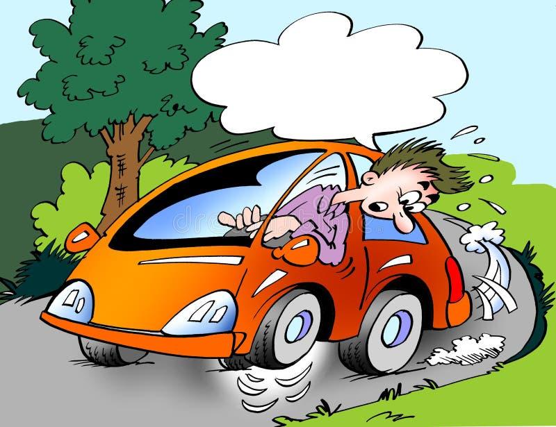 Kreskówki ilustracja właściciela samochodu jeżdżenie z mylnym opona naciskiem w korbie, tak, że ono biega na trzy kołach royalty ilustracja