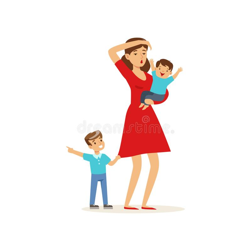 Kreskówki ilustracja zmęczony macierzysty i jej synowie ilustracji