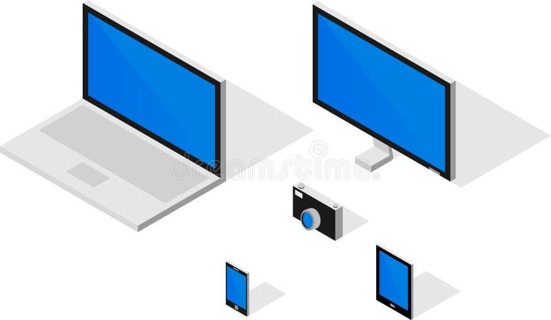 Kreskówki isometric komputer, monitor, telefon, pastylka i kamera, ilustracja wektor