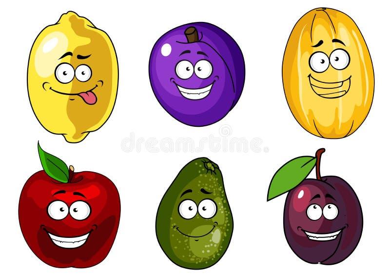 Kreskówki jabłko, śliwki, melon, cytryna i avocado, ilustracja wektor