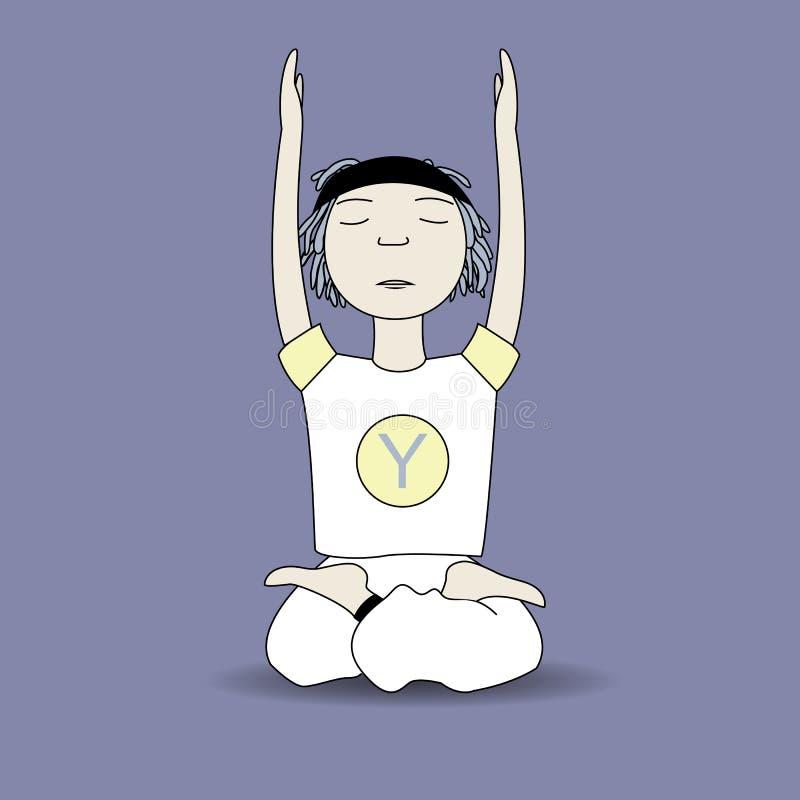 Kreskówki joga pozy chłopiec royalty ilustracja