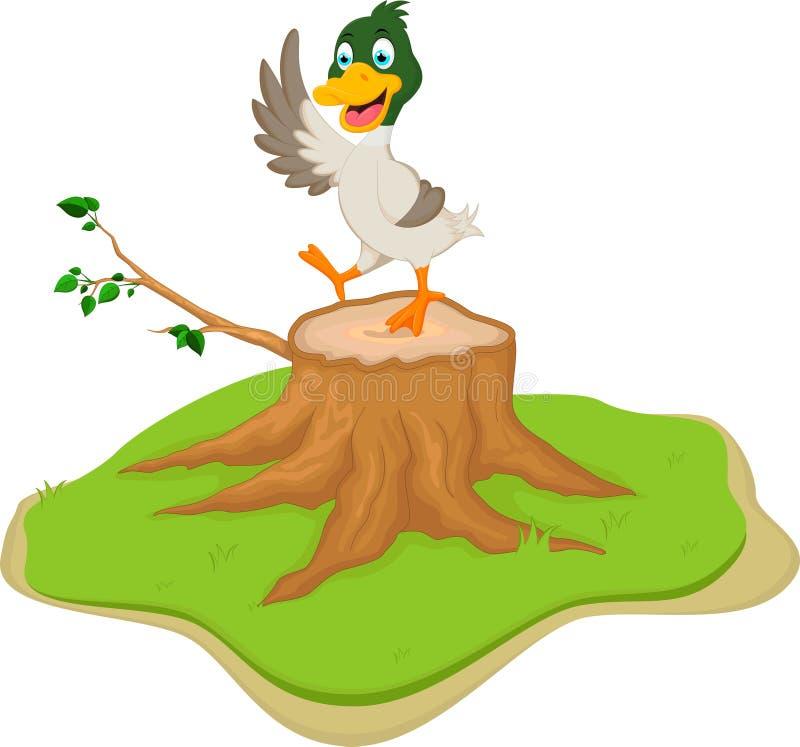 Kreskówki kaczka pozuje na drzewnym fiszorku ilustracja wektor