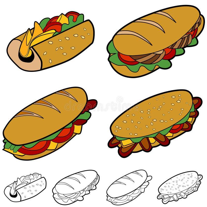kreskówki kanapki set ilustracja wektor