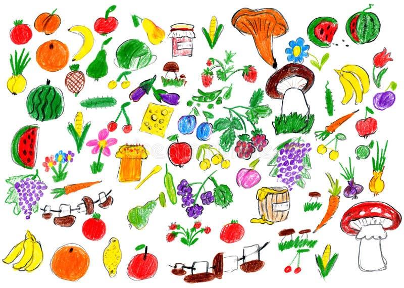 Kreskówki karmowa kolekcja, owoc i warzywo, dziecko rysunku przedmiota set na papierze, ręka rysujący sztuka obrazek ilustracja wektor