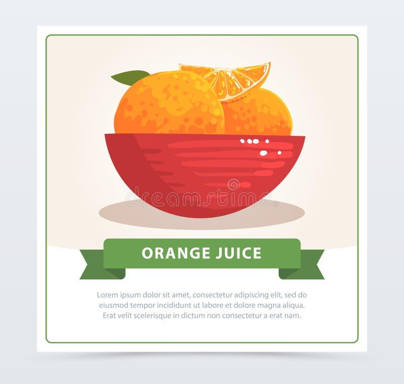 Kreskówki karta soczyste tropikalne pomarańcze w czerwonym pucharze Zdrowy życie i organicznie owocowy pojęcie Ręka rysujący karm ilustracji