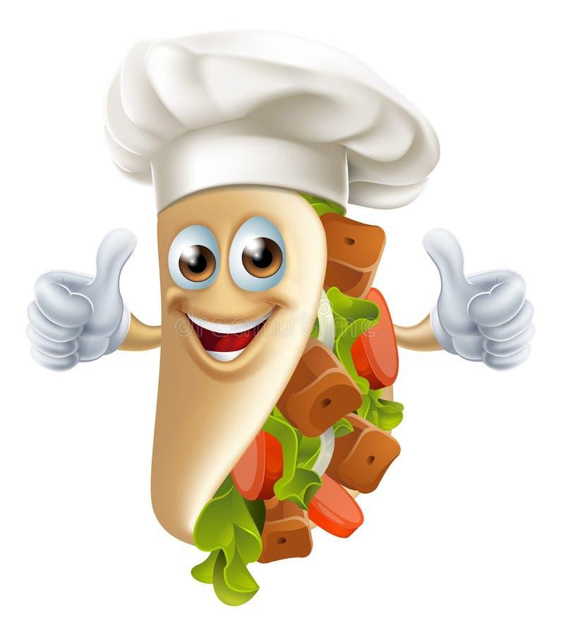 Kreskówki Kebabu charakter royalty ilustracja