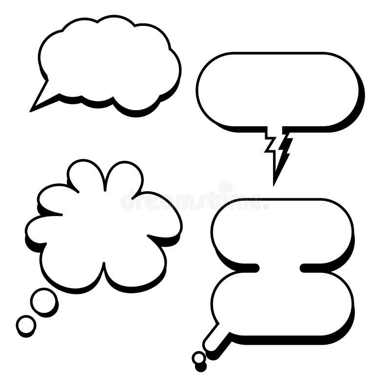 Kreskówki klasyczna mowa gulgocze wektor Komiczni bąble z pustym dialog ilustracja wektor
