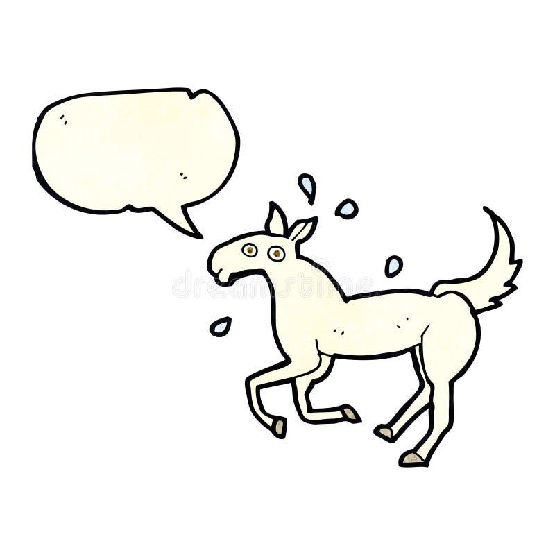 kreskówki koński pocenie z mowa bąblem royalty ilustracja