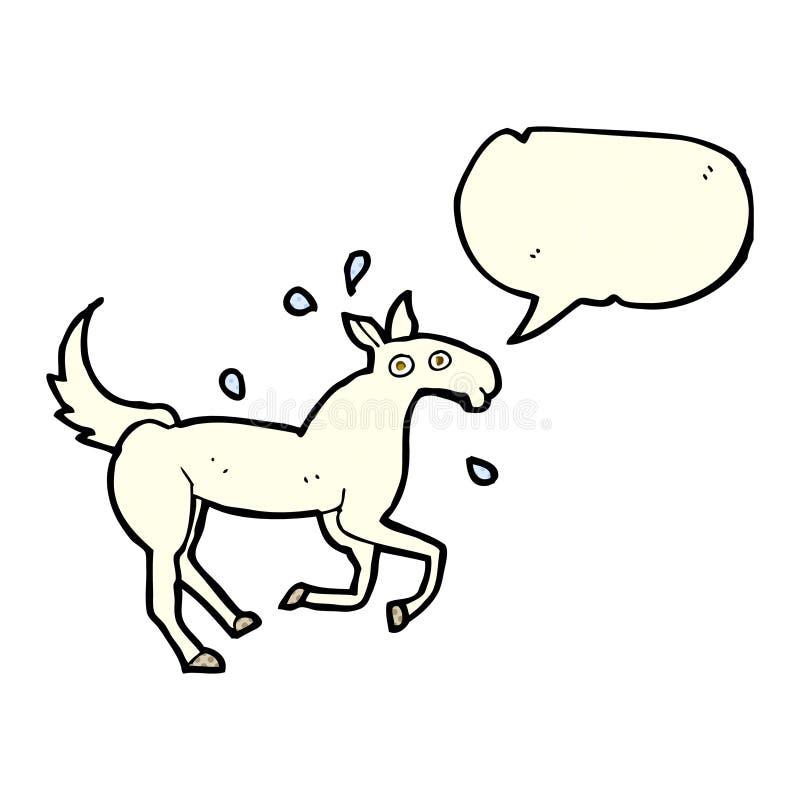 kreskówki koński pocenie z mowa bąblem ilustracja wektor