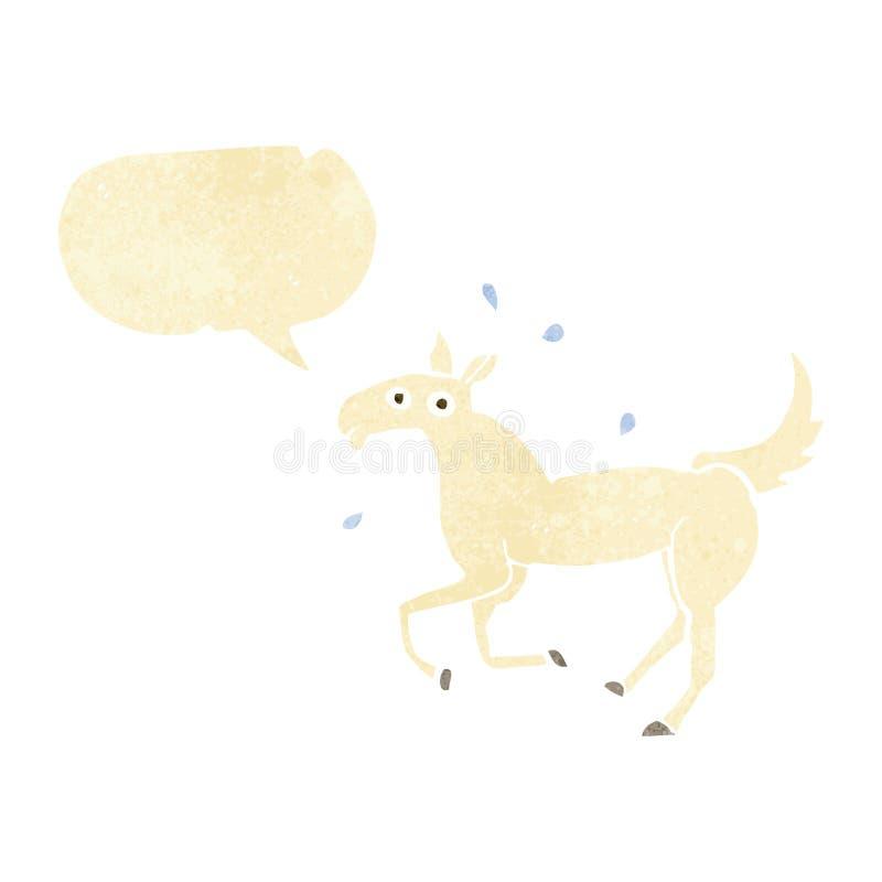 kreskówki koński pocenie z mowa bąblem ilustracji