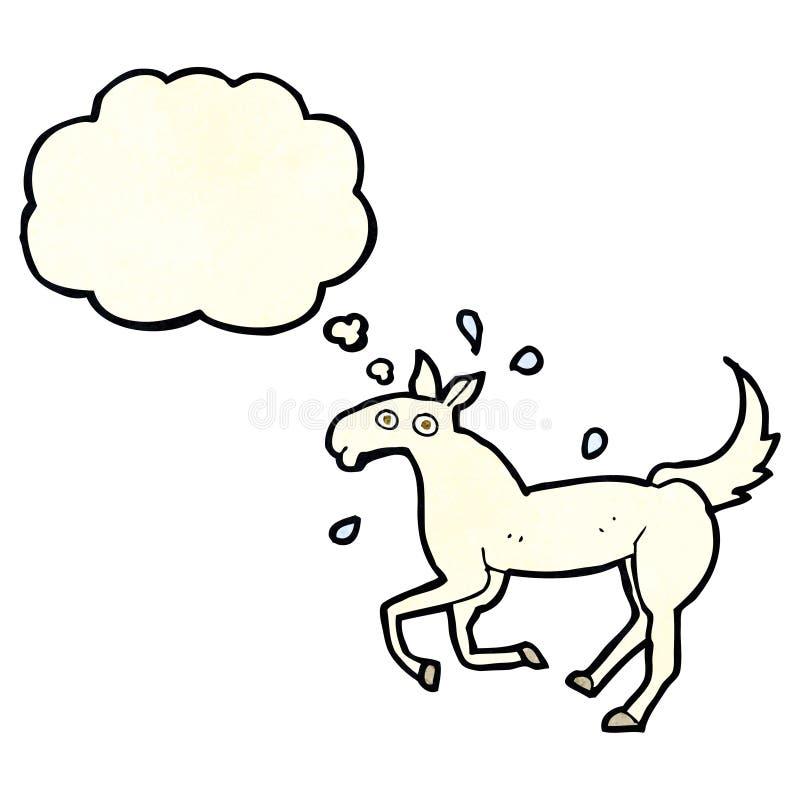 kreskówki koński pocenie z myśl bąblem ilustracji