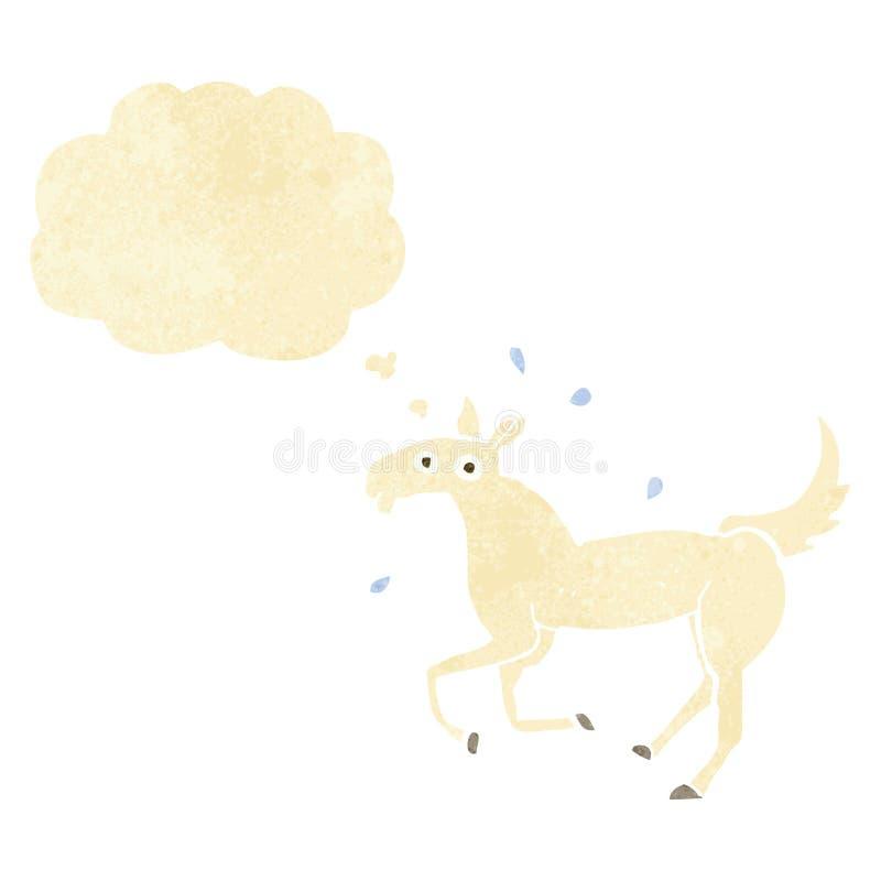 kreskówki koński pocenie z myśl bąblem ilustracja wektor