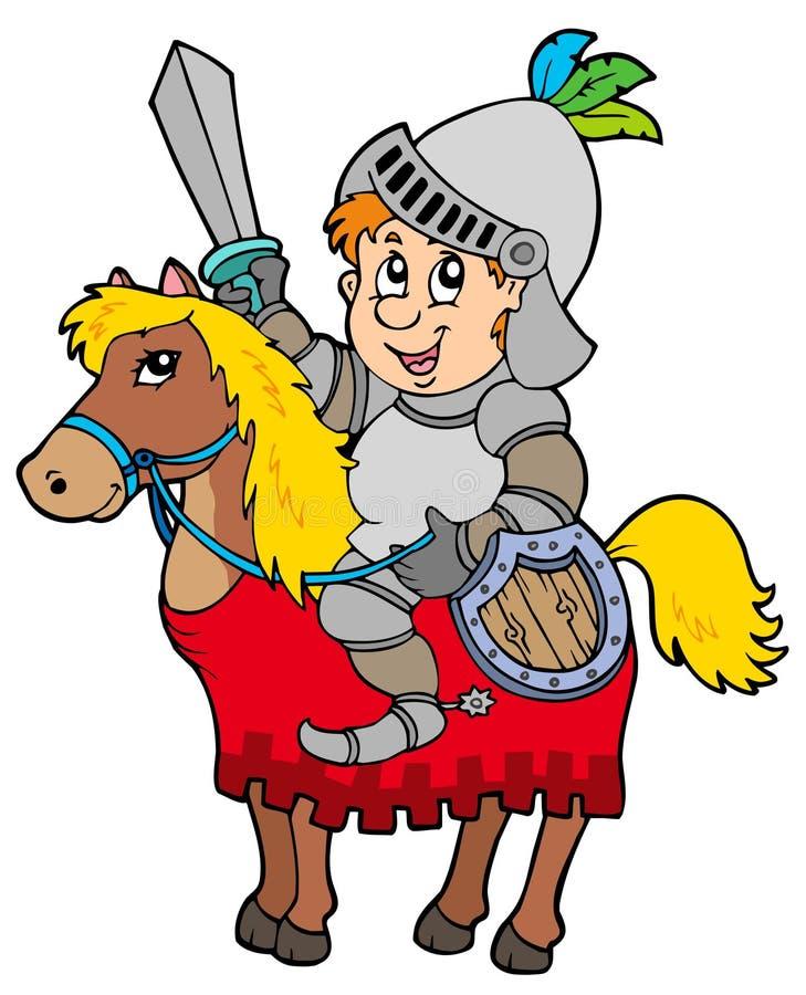 kreskówki koński rycerza obsiadanie royalty ilustracja