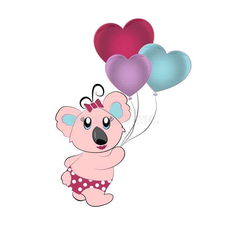 Kreskówki koala z balonami ilustracji