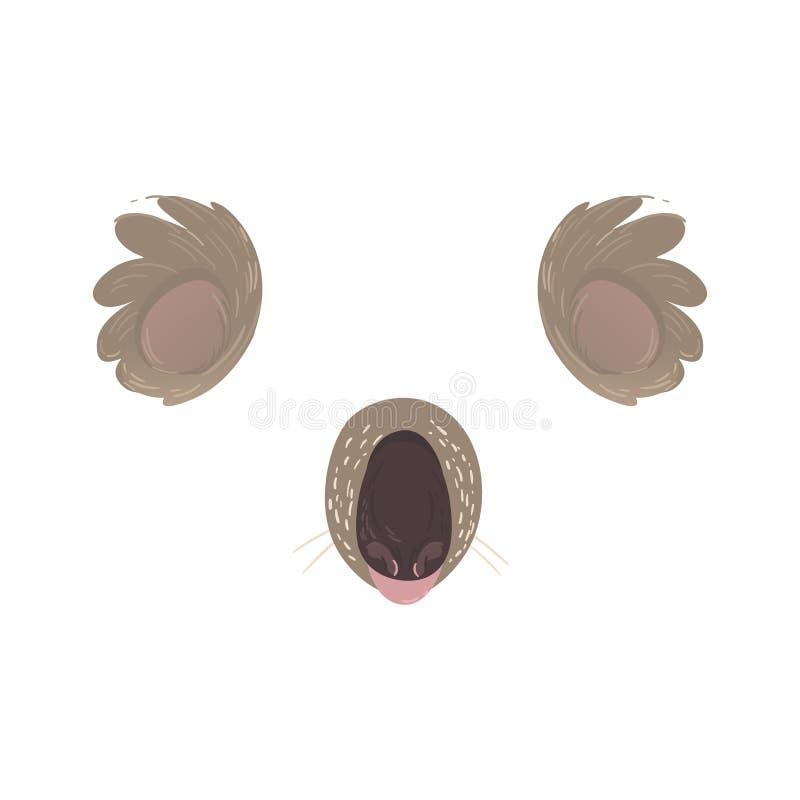 Kreskówki koali zwierzęca twarz lub masek rzeczy płaska wektorowa ilustracja odizolowywająca ilustracja wektor
