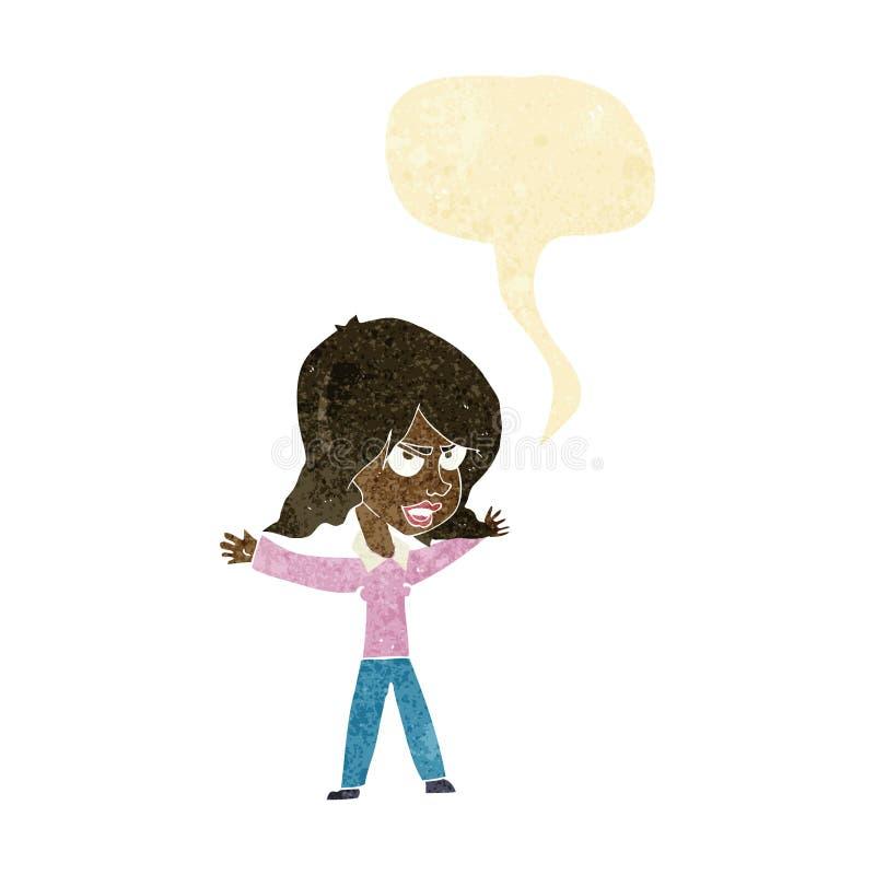 kreskówki kobieta gestykuluje z mowa bąblem ilustracja wektor
