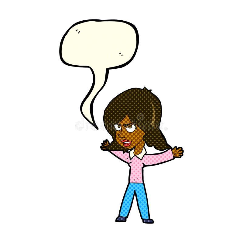 kreskówki kobieta gestykuluje z mowa bąblem royalty ilustracja