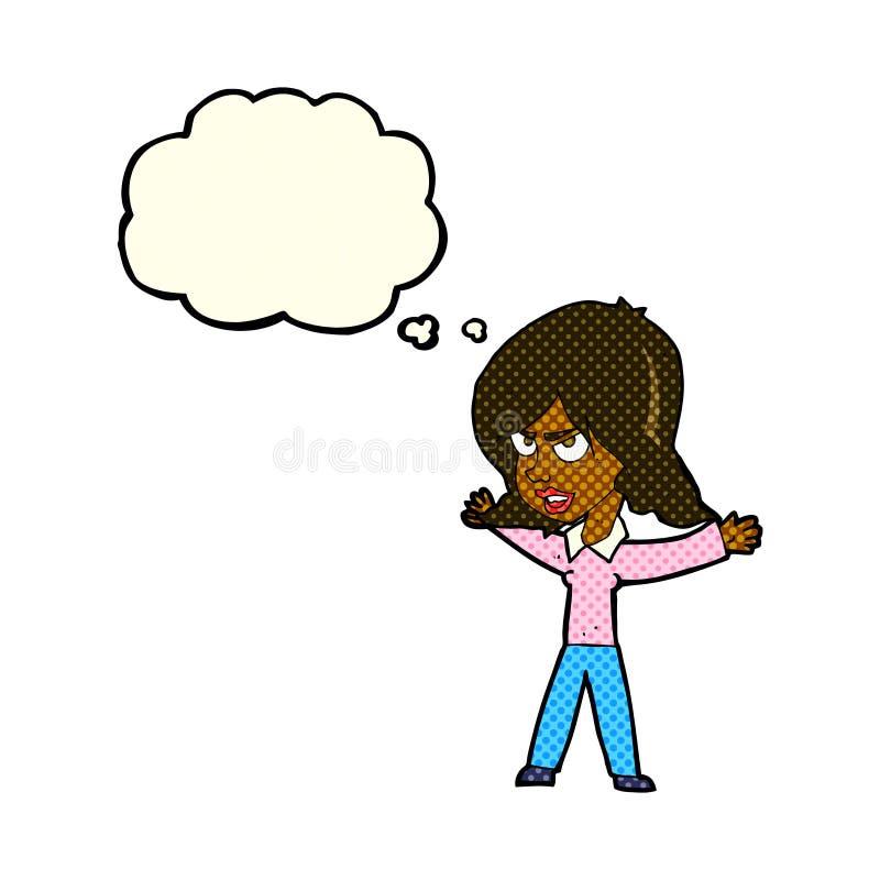 kreskówki kobieta gestykuluje z myśl bąblem ilustracja wektor