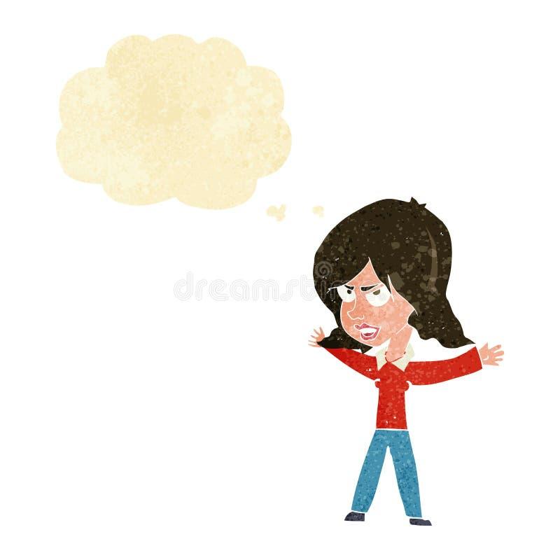 kreskówki kobieta gestykuluje z myśl bąblem ilustracji