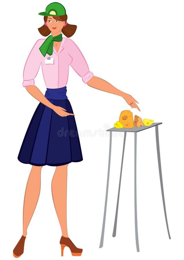 Kreskówki kobieta w zielonych kapeluszowych ofiara sera próbkach royalty ilustracja