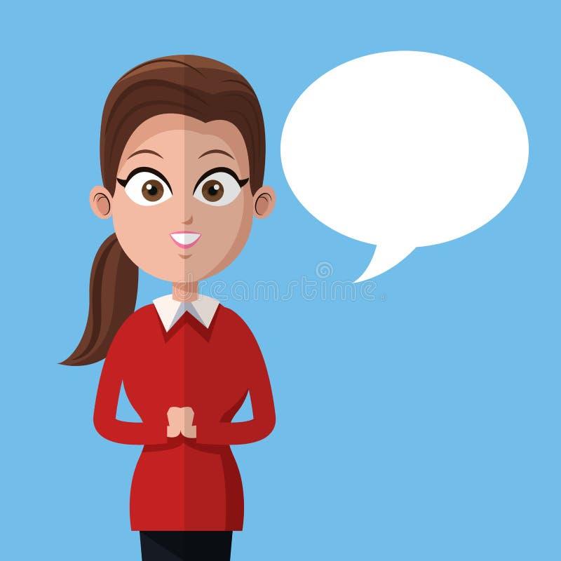Kreskówki kobiety business manager pracy bąbla mowa ilustracji