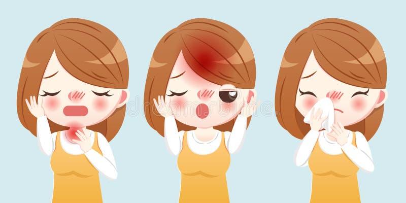 Kreskówki kobiety kichnięcie i choroba ilustracja wektor