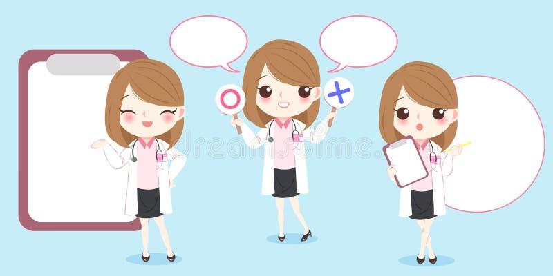 Kreskówki kobiety lekarka ilustracja wektor