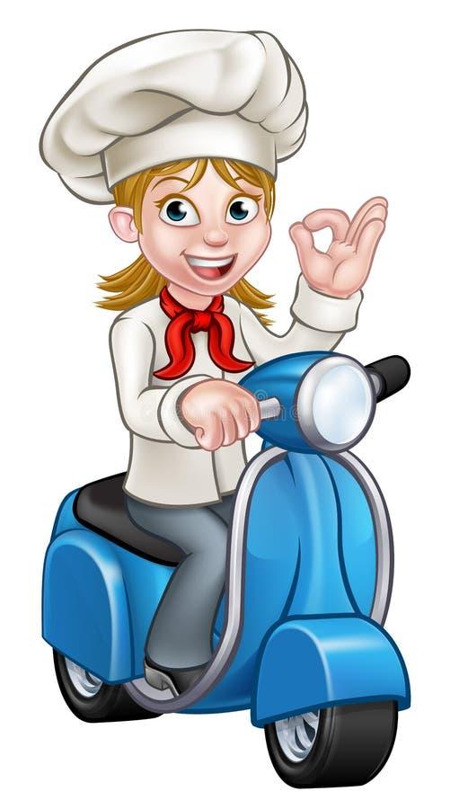 Kreskówki kobiety Moped Doręczeniowy szef kuchni ilustracja wektor