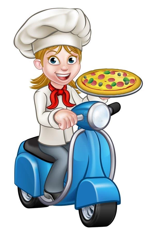 Kreskówki kobiety pizzy szef kuchni na Moped hulajnoga ilustracji