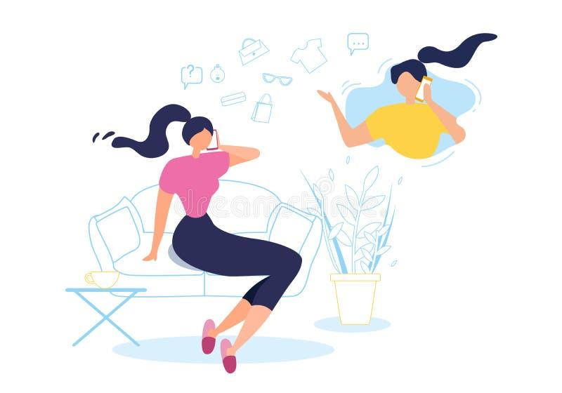 Kreskówki kobiety rozmowy telefon komórkowy w domu Siedzi kanapę ilustracji