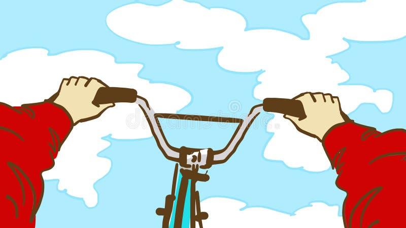 Kreskówki kolarstwa Krańcowa sztuczka Osoby ` s punktu widzenia bicycling royalty ilustracja