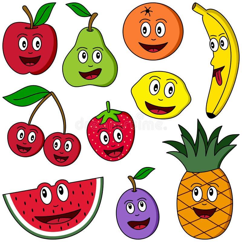 kreskówki kolekci owoc ilustracja wektor
