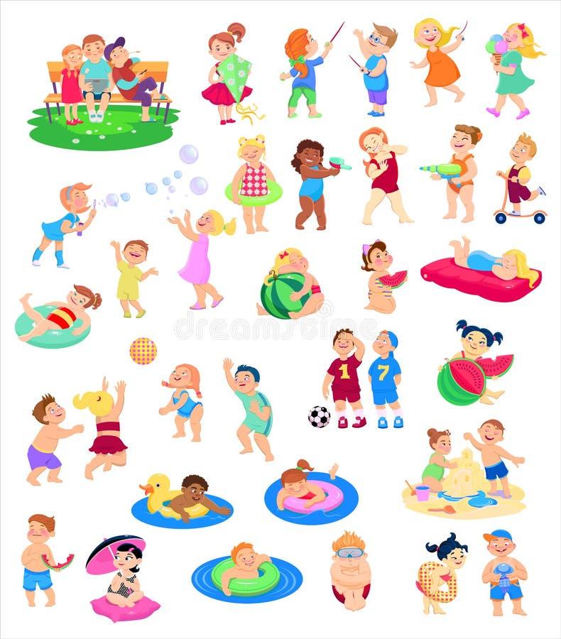Kreskówki kolekcja dziecko charaktery, wakacje letni ilustracji