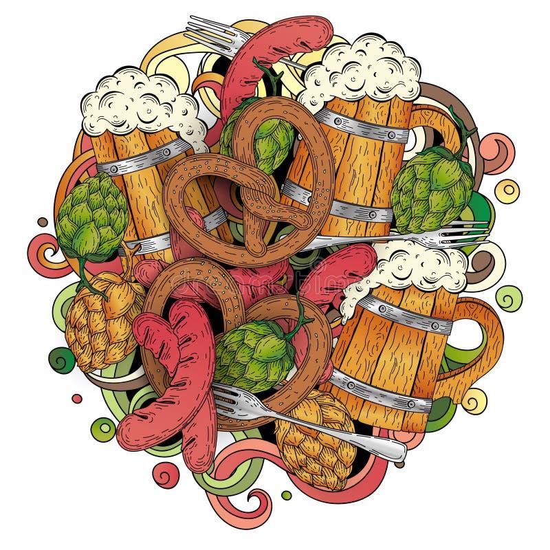 Kreskówki kolorowa ręka rysująca doodles Oktoberfest szablon szczegół zdjęcie royalty free