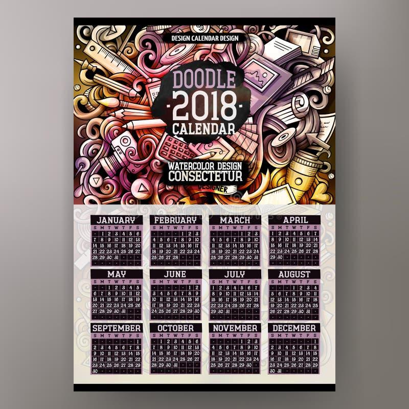 Kreskówki kolorowa ręka rysująca doodles projektanta 2018 rok kalendarz royalty ilustracja