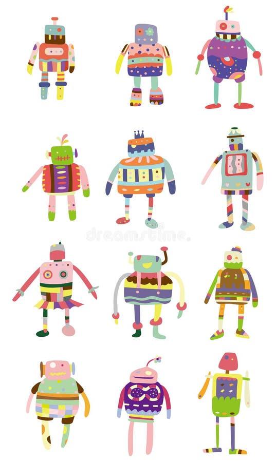 kreskówki kolorowy ikony robot ilustracja wektor