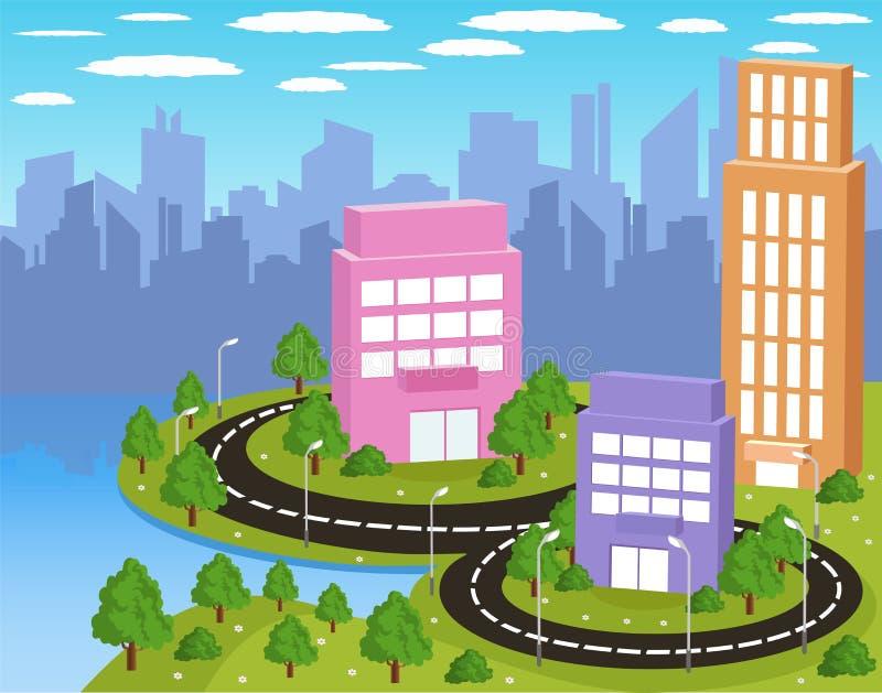 Kreskówki kolorowy miasto royalty ilustracja