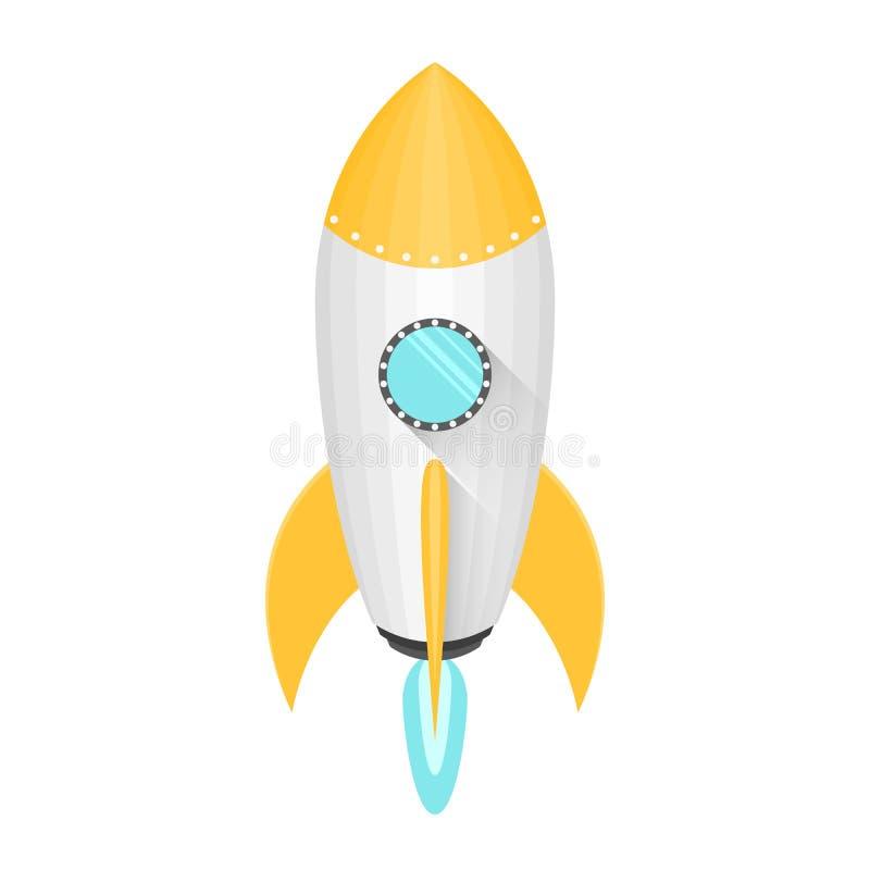 Kreskówki koloru żółtego i białej astronautyczna rakieta w płaskim stylu odizolowywa na białym tle Komarnicy w przestrzeń Błękita ilustracja wektor