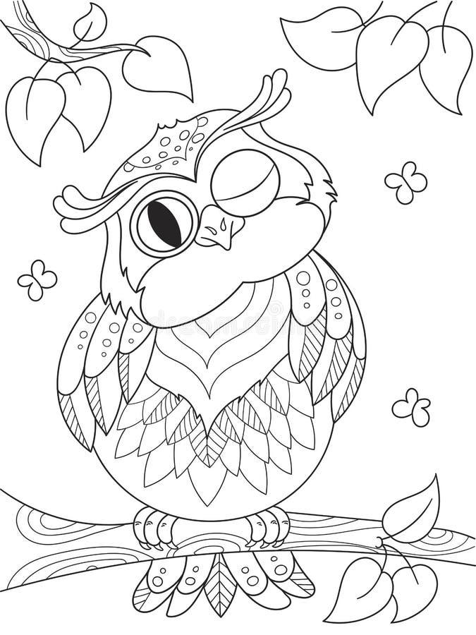 Kreskówki kolorystyki książka Śmieszna sowa na drzewie Czerni linie, biały tło ilustracja wektor