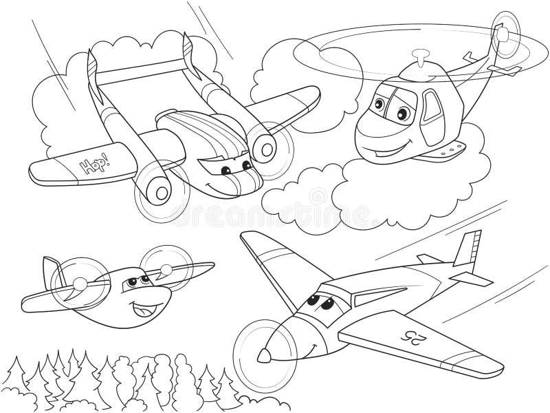 Kreskówki kolorystyki samoloty z twarzami i helikoptery Żyje transport royalty ilustracja