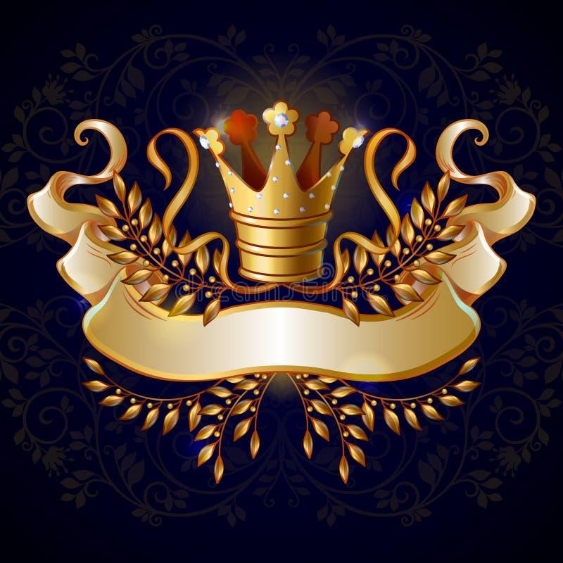 Kreskówki korony Królewski Złocisty szablon ilustracji