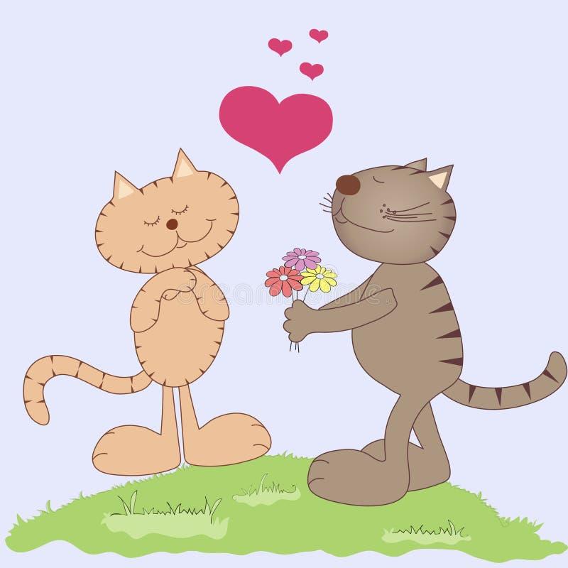 kreskówki kotów miłości dwa wektor royalty ilustracja