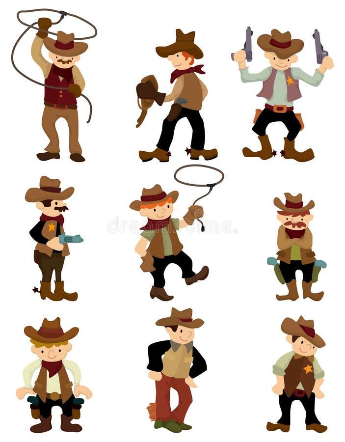 kreskówki kowboja ikona royalty ilustracja