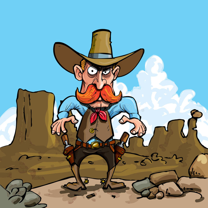 kreskówki kowboja sixguns ilustracja wektor
